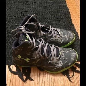 Under Armour lime green and grey camo sneakers